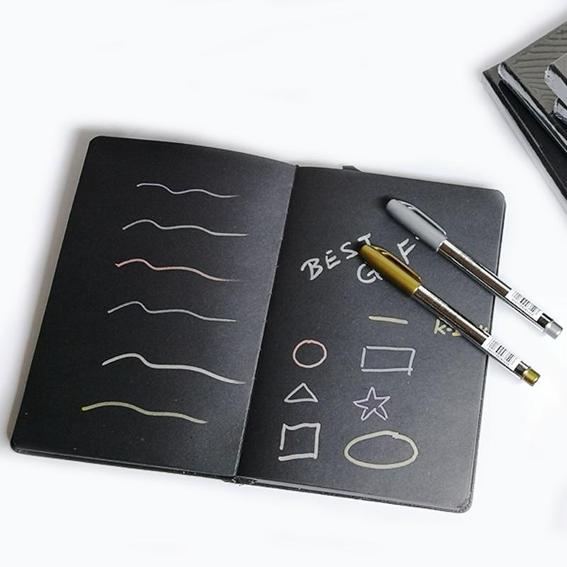 A5/a6 bloco de notas preto em branco do caderno, livro de esboços de papel preto em branco de diy