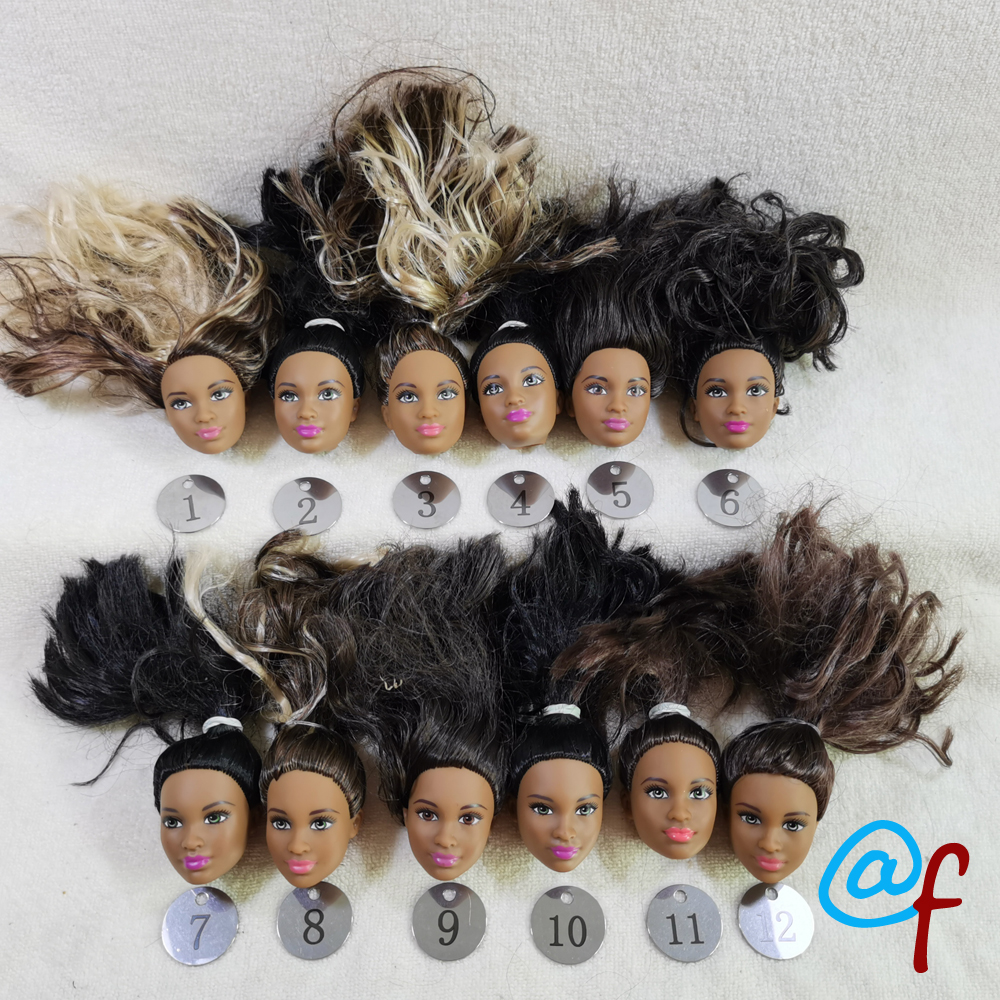 B28-3 Original Foreign Trade Western Asia Africa Beauty 1/6 OOAK NUDE Rarely Doll Head Mussed Black Hair For DIY Soft PVC Head