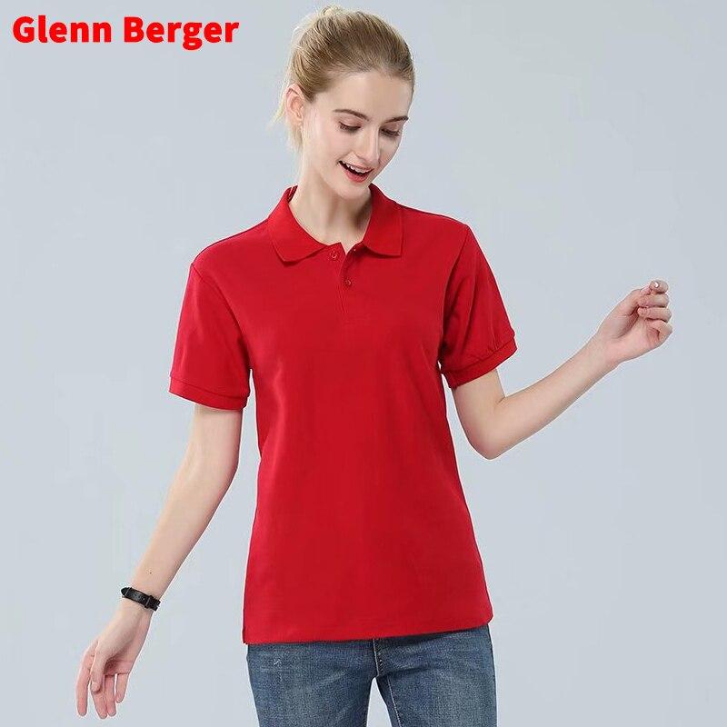 Glenn Berger 2019 Nova Camisa Polo Verão Mulheres Casual Manga Curta Slim Camisas Polos Mujer Plus Size Feminina de Algodão Polo parte superior da camisa