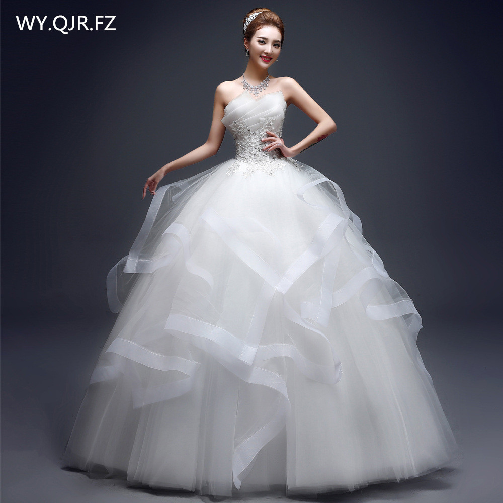 HMHS-620#Ball gown Wedding dress Strapless Lace up Marry Party dresses white Embroidery Set in Resin drill Cheap Wholesale