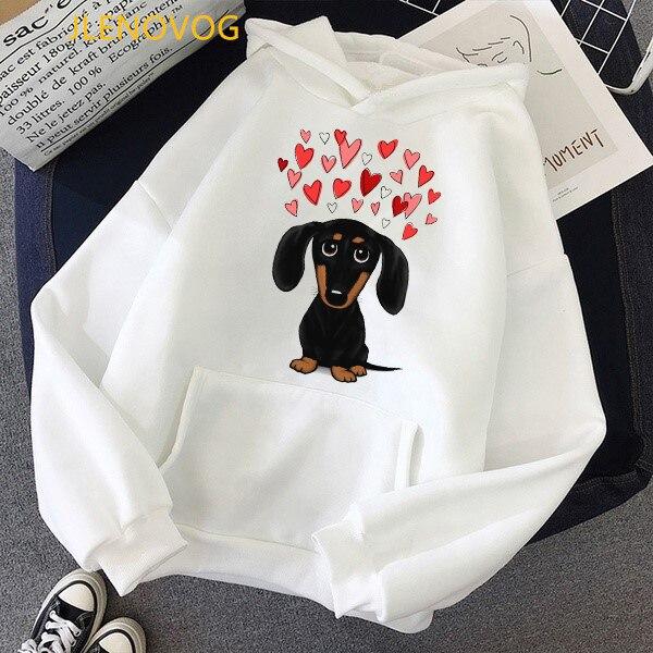 Cute Dachshund Dog Love Cartoon Print Hoodies Women Clothes 2021 Funny Vogue Sweatshirt Femme Harajuku Kawaii Winter Tracksuit 8