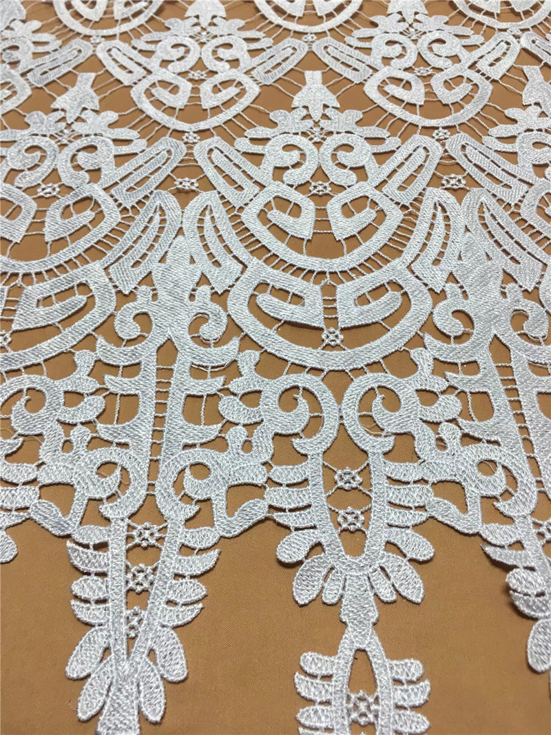 Image 2 - Free shipping (5yards/pc) Beautiful African big cord lace fabric  white guipure lace fabric withh fashion tassel for dress WL3941cord  laceguipure laceguipure lace fabric