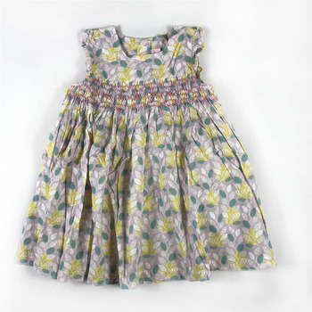 Sweet Little Girls Candy Floral Print Dress Smocked Hand Made Western Fashion Vintage Summer Fly Sleeve Bow Dress