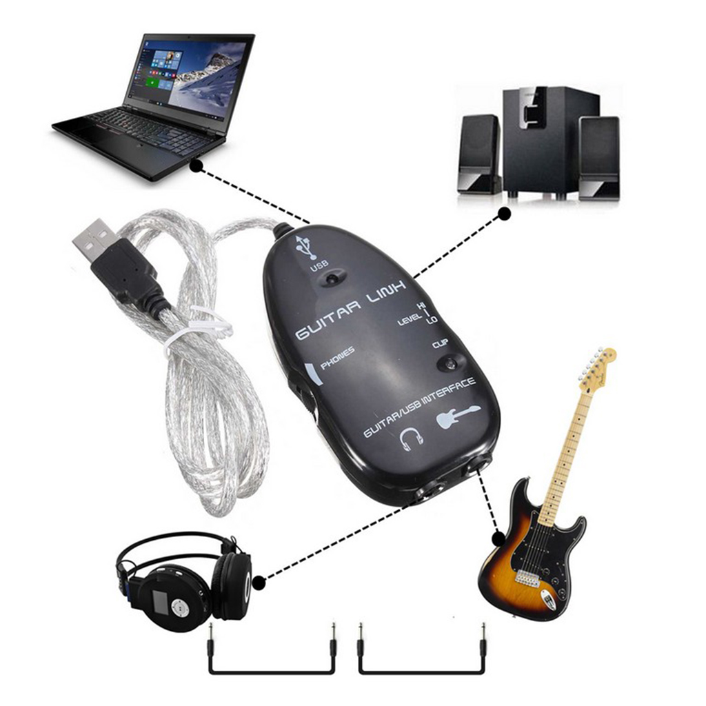 Guitar To USB Interface Link Cable Audio Adapter For PC/MAC Recording