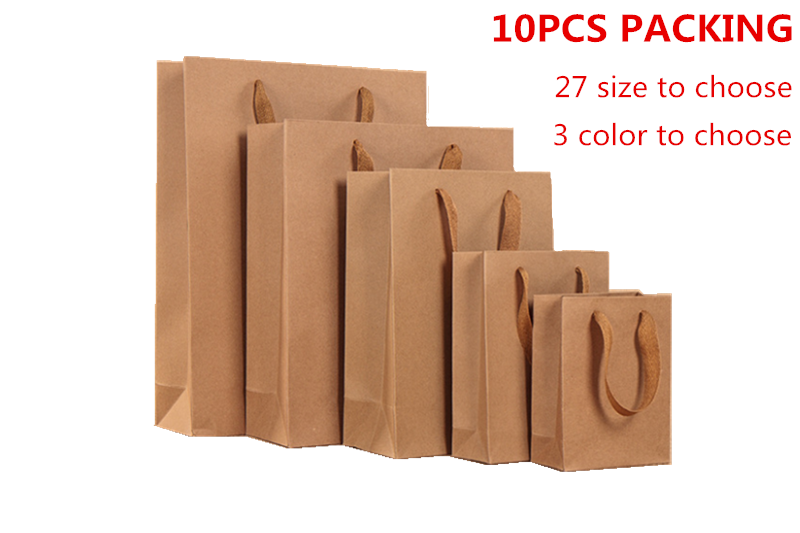 10PCS Kraft Paper Bag With Handles For Wedding Party Clothes Hats Food Candy Bread Gift Bags Christmas Package