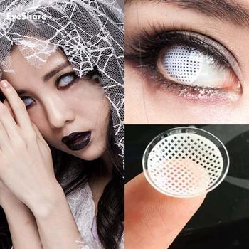 EYESHARE 1 Pair  White Mesh Large Diameter Eyes Cosmetic Colored Contact Lens Cosplay Contact Lenses For Halloween