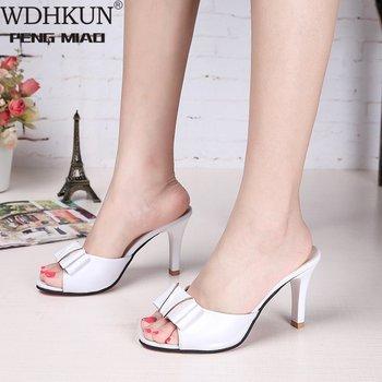 Summer Women Thin High Heels Sandals Elegant Concise Platform Pump Slipper for Party Woman Peep Toe Fashion Shoes 8.5 cm - discount item  30% OFF Women's Shoes
