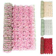 UV Protection Artificial Balcony Coloful Leaf Fence Plant Foliage Hedge Grass Mat Balcony Fence Garden Rattan Fence White, Pink