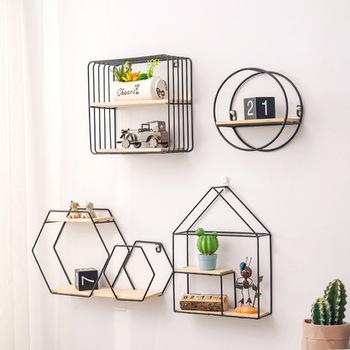 Metal żelaza drewniany stojak do przechowywania wielu do przechowywania w kształcie posiadacze czarny złoty Nordic półka ścienna dekoracje dla domu DIY tanie i dobre opinie
