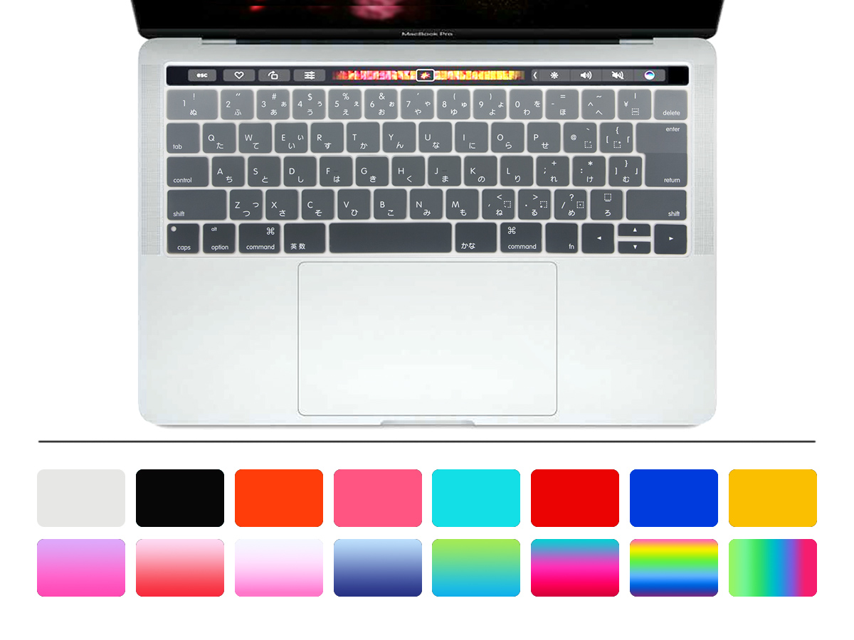 HRH Japanese Animal Ombre Rainbow Keyboard Cover For Mac Pro 13 15 A1706 A1707 A2159 Touch Bar JP 2017/2018/2019 Release image