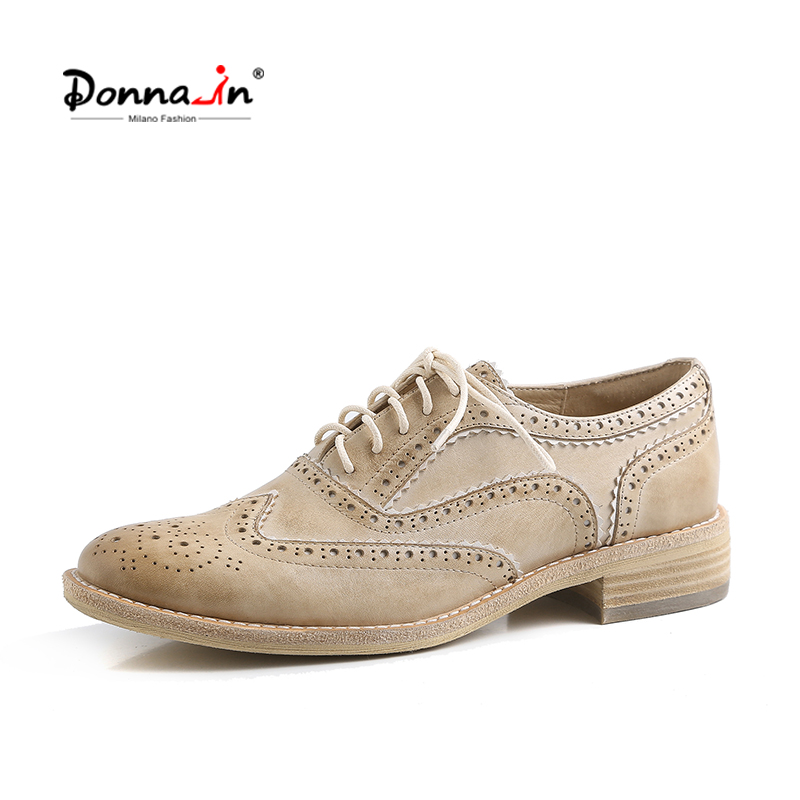 Donna-in Genuine Leather Shoes Women Oxfords Brogue Spring Summer  Lace Up Low Heels Shoes Retro Classic British Style Footwear