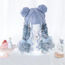 Косплей микс 3 стиль синий Лолита термостойкие Омбре длинные/короткие кудрявые короткие булочки челка для рождественской вечеринки косплей синтетический парик