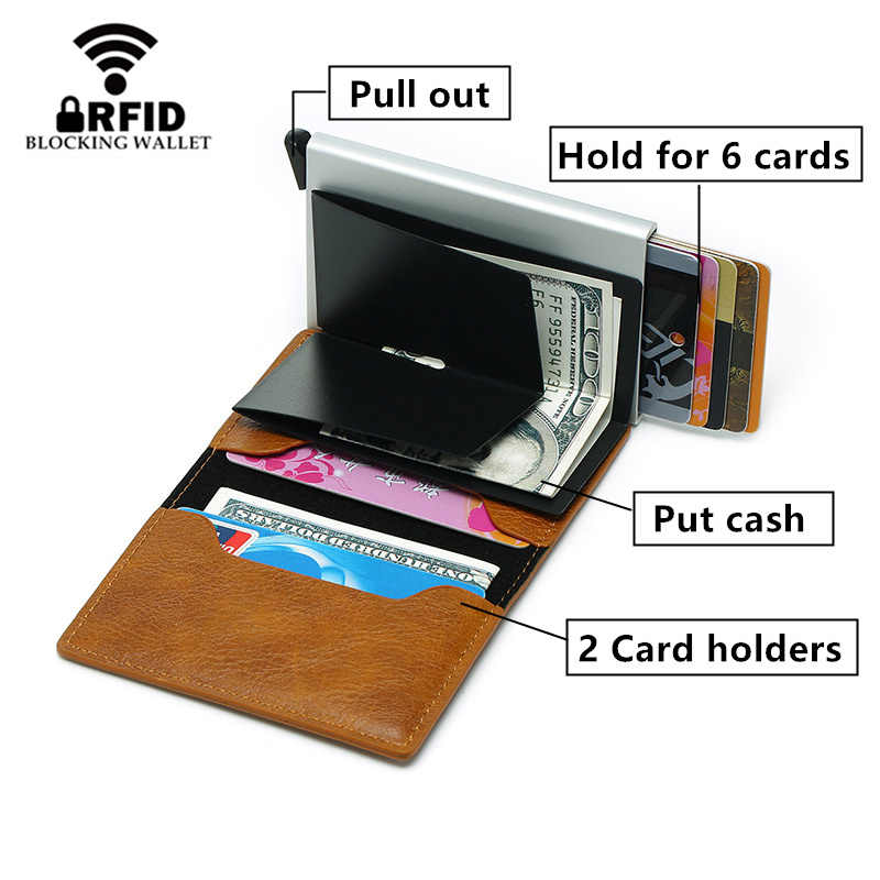 2020 Dropshipping Mann Frauen Smart Brieftasche Visitenkarte Halter Rfid Brieftasche Aluminium Metall Kredit Business Mini Karte Brieftasche