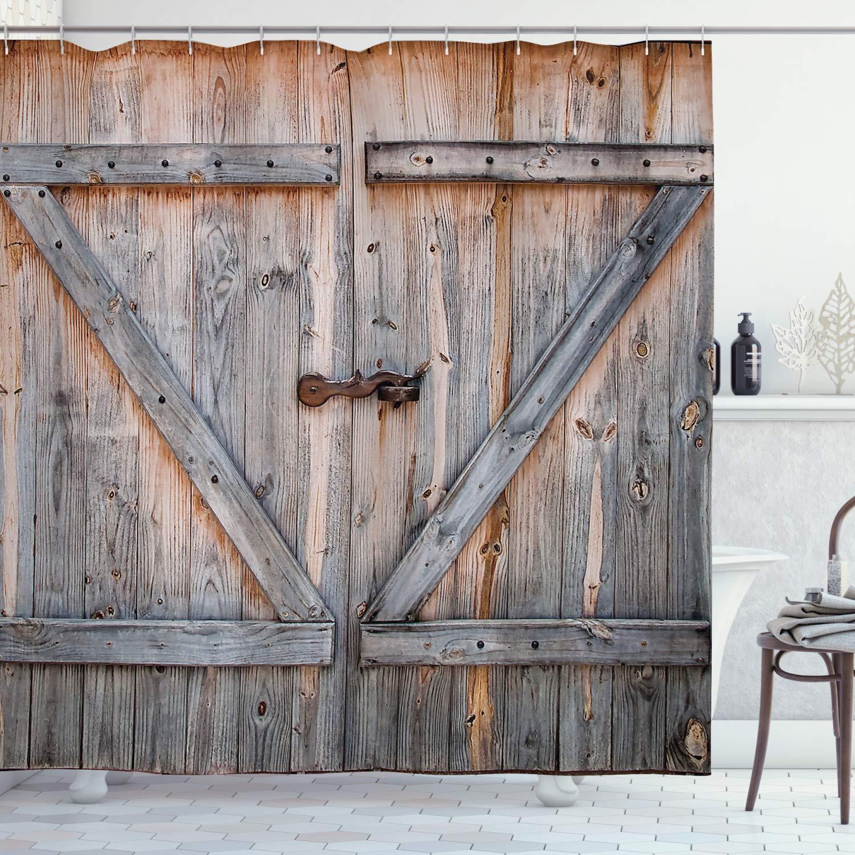 rustic shower curtain old wooden garage door american native country farm style artwork image bathroom decor set