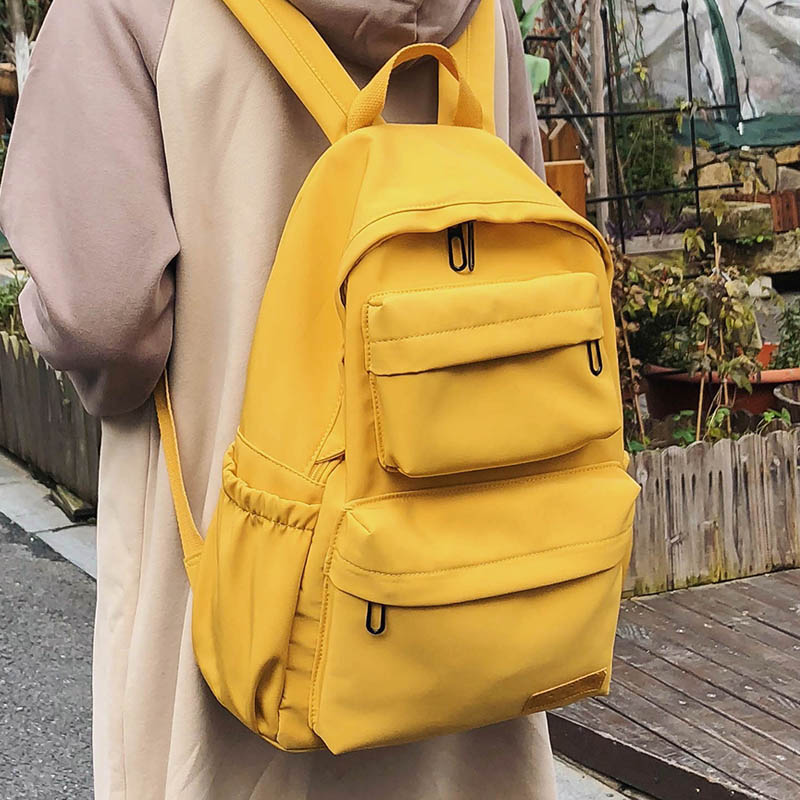 HOCODO New Waterproof Nylon Women Backpack 2020 Solid Color Casual Backpack For Teenagers Women Large Capacity Ladies Schoolbag