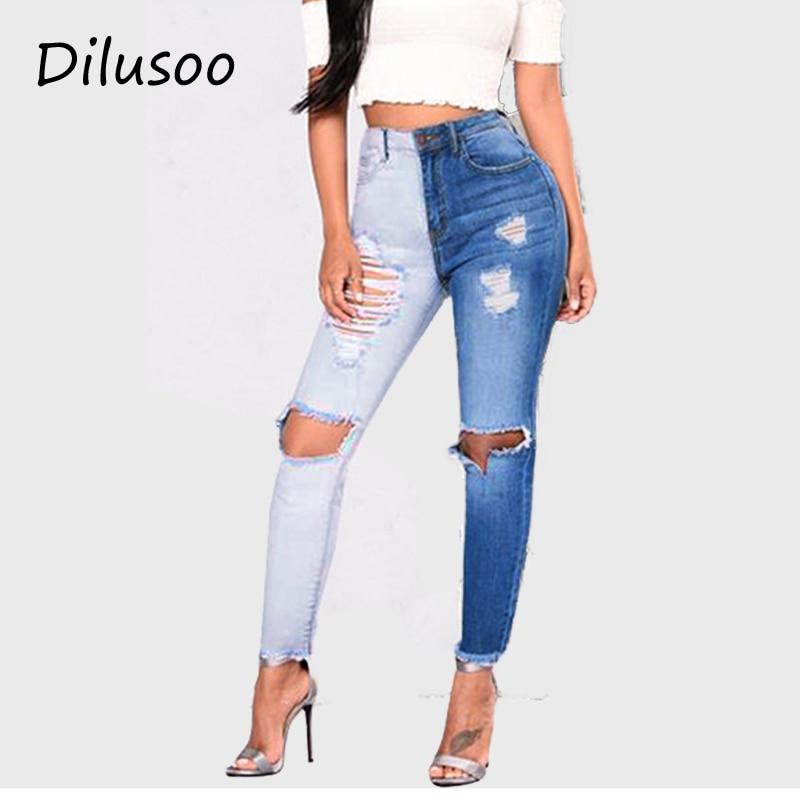 Dilusoo 2020 Skinny Patchwork Jeans Pants For Women High Elastic Ripped Denim Jeans Woman Casual Slim Pencil Pants Jeans Ladies