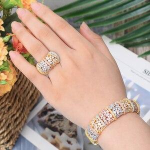 Image 2 - GODKI Luxury Ginkgo Leaf Nigeria Bangle Ring Set Jewelry Set For Women Wedding Cubic Zircon Crystal CZ Dubai Bridal Jewelry Sets