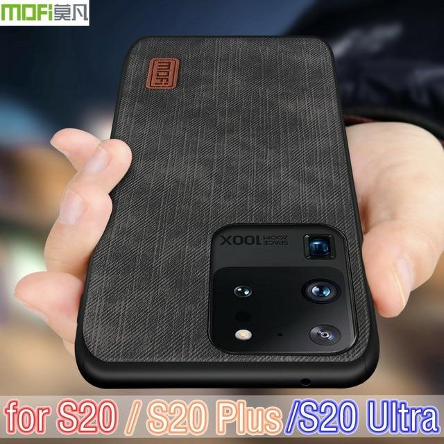 Samsung S20 Ultra durumda not 20 kapak S20 artı konut Note20 silikon darbeye dayanıklı kot PU deri geri TPU MOFi orijinal