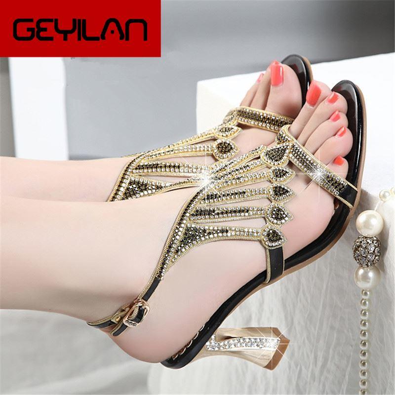 Summer Rhinestone Thick Heels Women Sandals Shoes Sexy Open Toe Shoes Woman High Heels Sandals Platform Plus Size 33-41