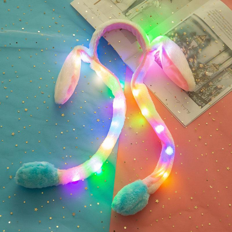 Rabbit Hat Moving Ears Airbag Kawaii Funny Toy Girl Women Up Down Moving Ear Hairpin Glowing Plush Gift For Girls
