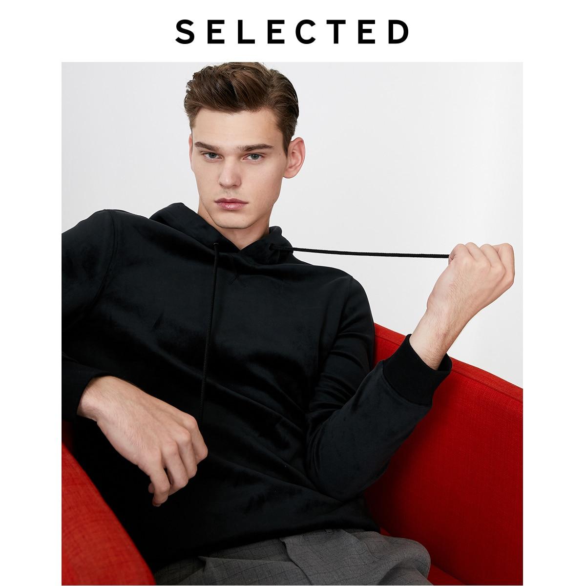 SELECTED Men's Winter Velvet Hooded Sweatshirt New Pullover Hoodies Clothes S   41944D505