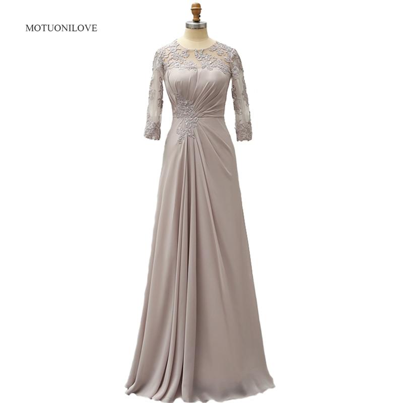 3/4 manches longues mère de la mariée marié robes de grande taille Appliques 2019 argent dentelle mère robe formelle robe de soirée personnaliser