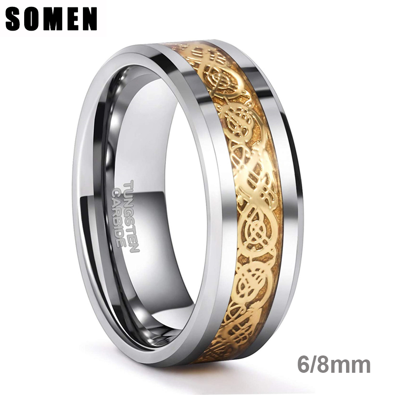 Somen Ring Men Real Tungsten Ring 6mm/8mm Gold Celtic Dragon Polished Engagement Rings Wedding Band Fashion Party Men Jewelry