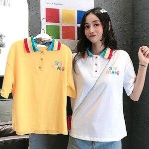 summer polo T-Shirt Women Rainbow Turn Down Collar Short Sleeve Loose Top Tee New Fashion Sweet Cute Stuff Casual Basic T-Shi