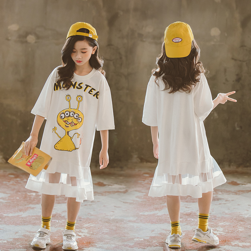 Cartoon Teenage Girls Summer Dress Casual Kids Girls Outfit size 5 6 8 10 12