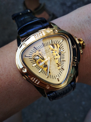 H205e57a0448843f19bdea656375d6fa6N Winner Steampunk Fashion Triangle Golden Skeleton Movement Mysterious Men Automatic Mechanical Wrist Watches Top Brand Luxury