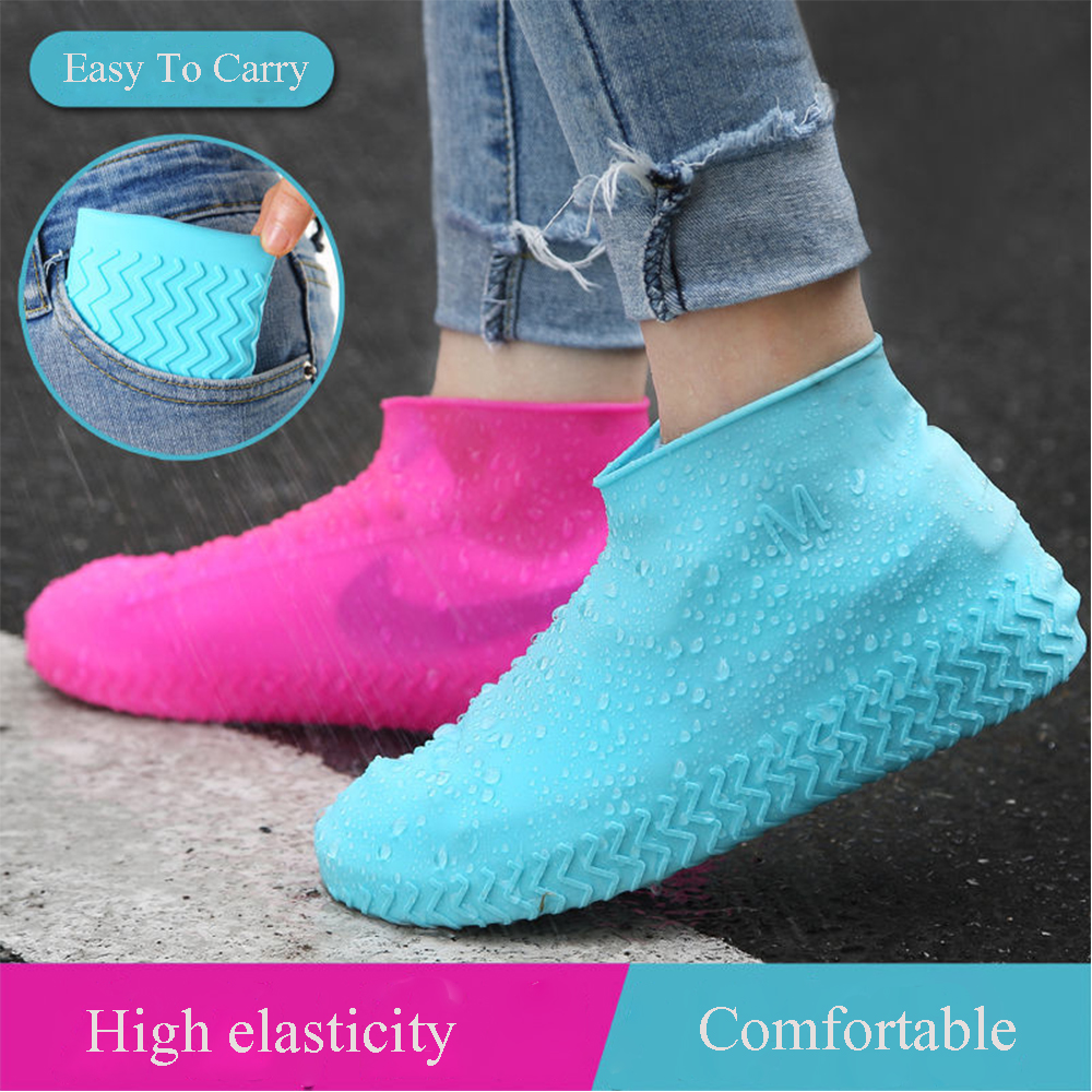 Waterproof Shoes Covers Environmental Protection Reusable Anti-Slip Motorcycle Rain Boot Soft Cover Silicone Elastic-0