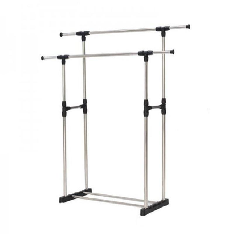 Stainless Steel Adjustable Floor Hangers Coat Rack Floor Hanger Storage Wardrobe Clothing Drying Racks With Shoe Rack
