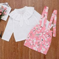 2020 Baby Kids Girls Clothing Set New Summer Style Floral Tops + Overalls Suit Clothes Sets For 1 4Y Kids Ruffles Sleeve Sets