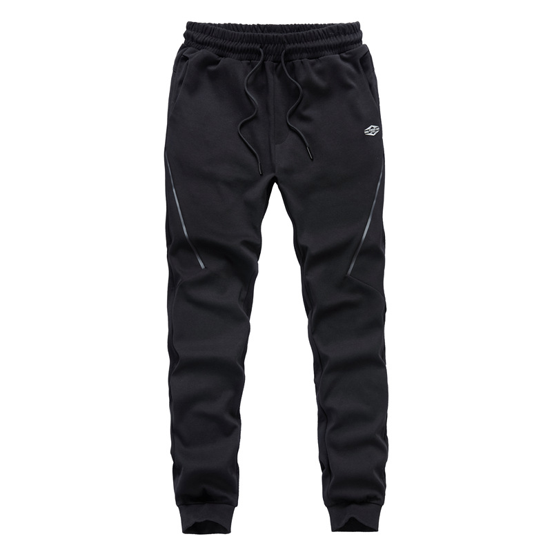 2019 New Style Men Casual Athletic Pants Solid Color Versatile Knit Pants Youth Beam Leg Sports Sweatpants 7605