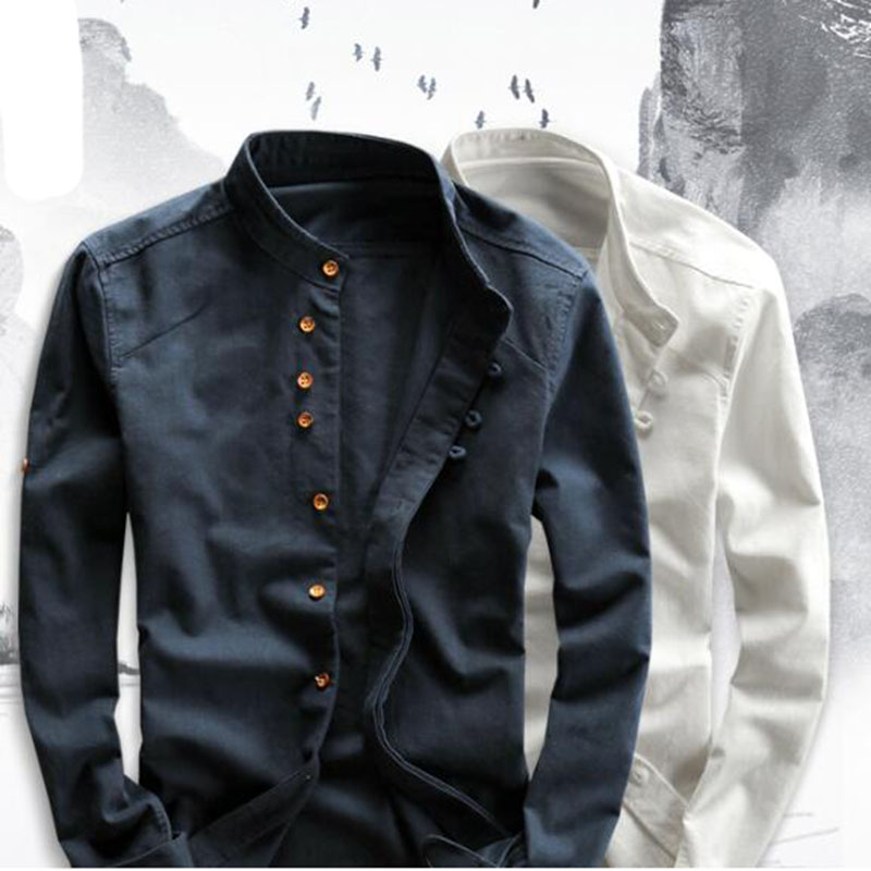 Men's Cotton Linen Shirts Long Sleeve Men Casual Slim Mandarin Collar Shirts High Quality Summer Beach Shirt plus size 6xl 1