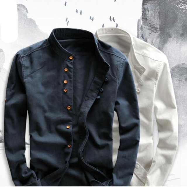 Men's Cotton Linen Shirts Long Sleeve Men Casual Slim Mandarin Collar Shirts High Quality Summer Beach Shirt plus size 6xl 1