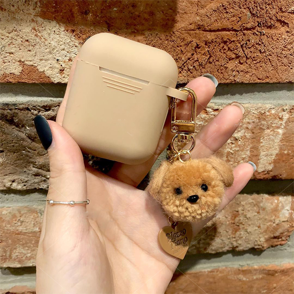 Cute Soft Luxury Teddy Dog Case For Apple AirPods 1 2 Case Accessories Bluetooth Earphone Protect Cover Bag Heart  Keyring Gifts