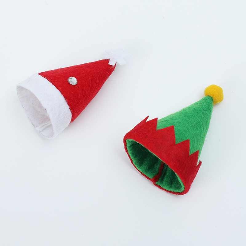 6 шт. шляпа Санта/Эльф Рождественский держатель для столового серебра кармашки для ножей ложка чехол для вилок винная бутылка крышка Топпер Конфета крышка вечерние украшения