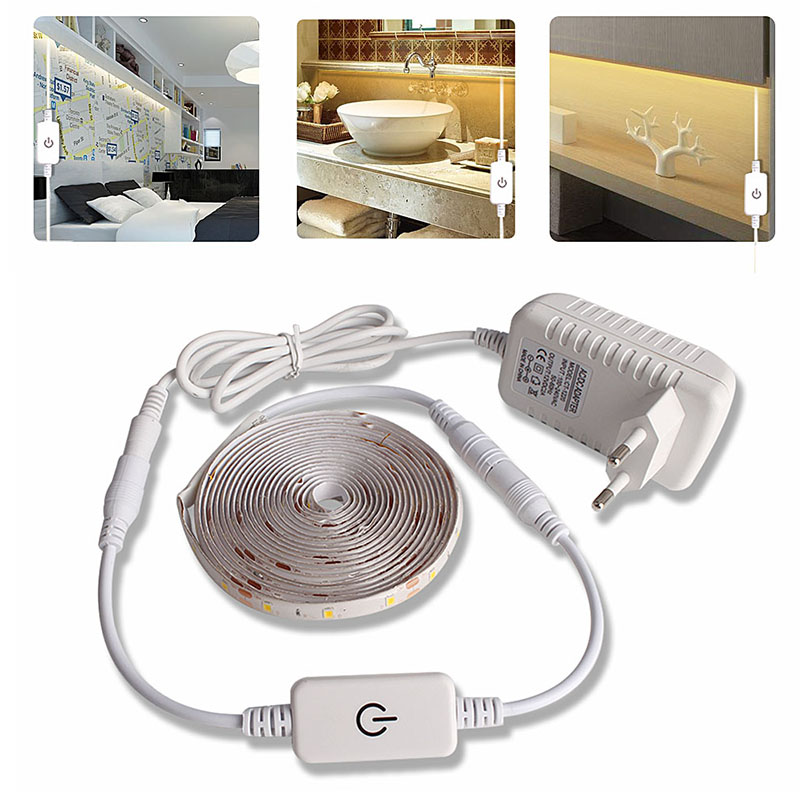 LED Light Strip Waterproof 2835 LED Ribbon Strip 12V Dimmable Touch Sensor Switch Set For Closets Cabinet Kitchen Lamp Lighting