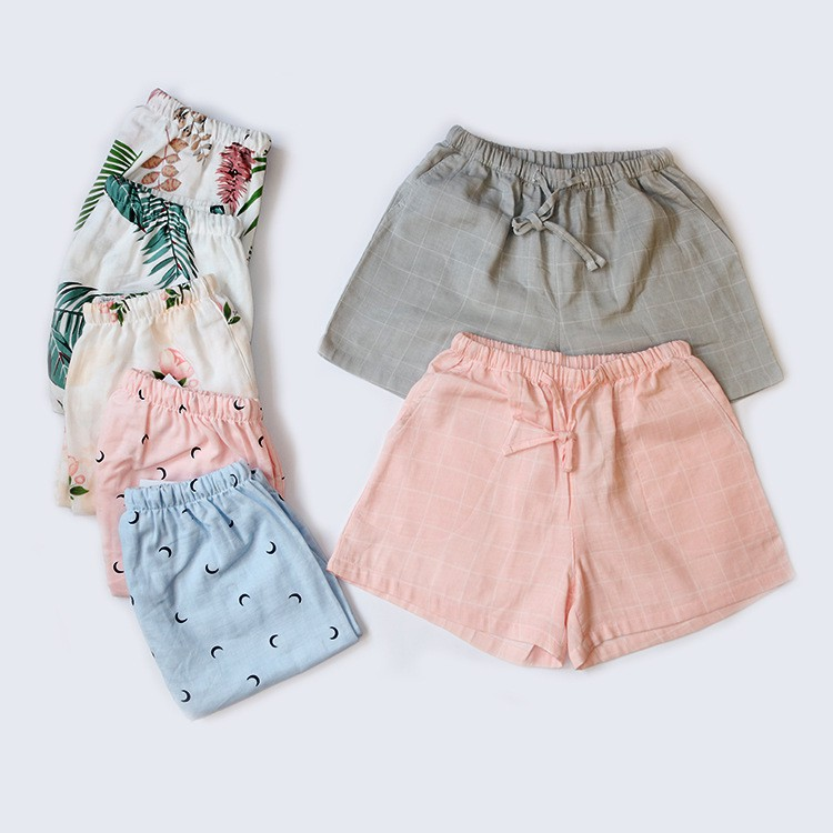 Japanese Pajamas Women Spring And Summer Shorts Cotton Gauze Cotton Thin Section Loose Large Size Home Pants Can Be Worn Outside