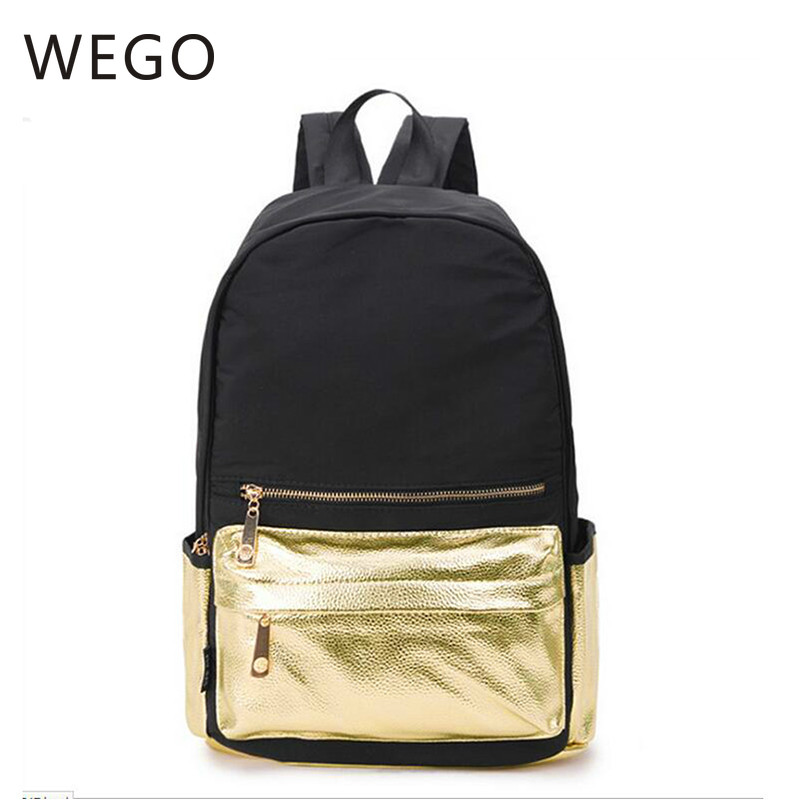 Gold Color Women Nylon Backpack For Teenager Girls Bagpack Women Mochila Feminina Casual School Student Shoulder Bags Waterproof