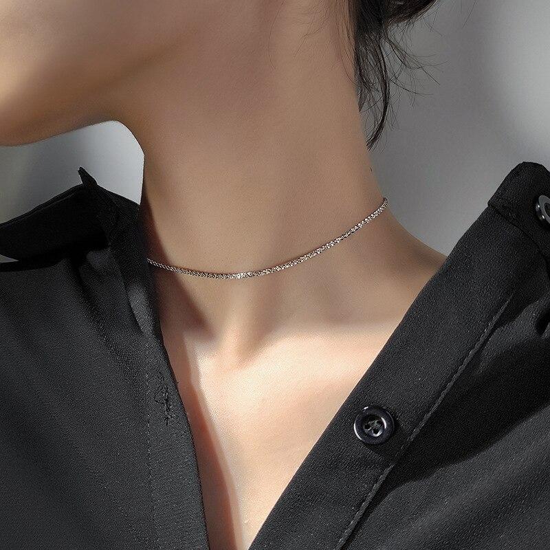 Collier ras du cou plaqué argent pour femmes, chaîne courte Simple, bijoux à la mode