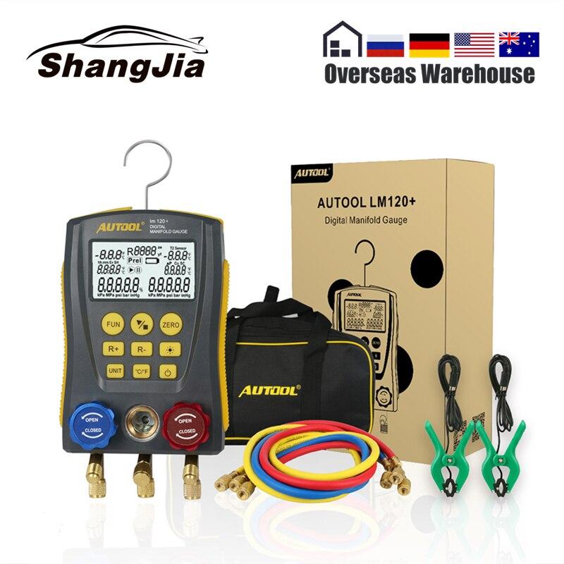 LM120+ Refrigerantion Digital Manifold HVAC Vacuum Pressure Temperature Leakage Tester Air-Conditioner Refrigerator Dignostic