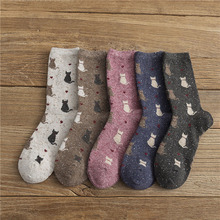 1Pair Women' Cute Sock Cat Pattern Cotton Mid Tube Breathable Animal Funny Casual Autumn Winter Soft Thick Warm Socks