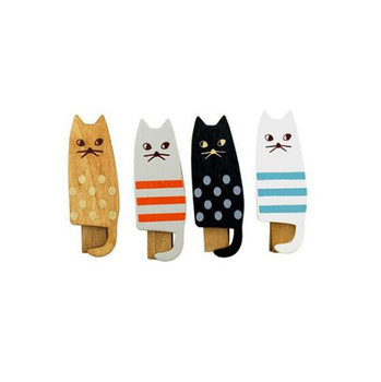 4pcs/set Kawaii cat design wooden clips Vintage style paper clip Office gift zakka supplies (ss-1270) image