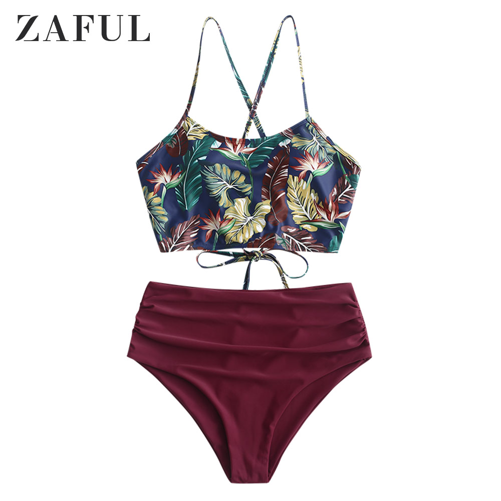 ZAFUL Criss Cross Ruched Sunflower Tankini Set Spaghetti Straps Lace Up Bikinis High Waist Elastic Swimsuit Female Bathing Suiit