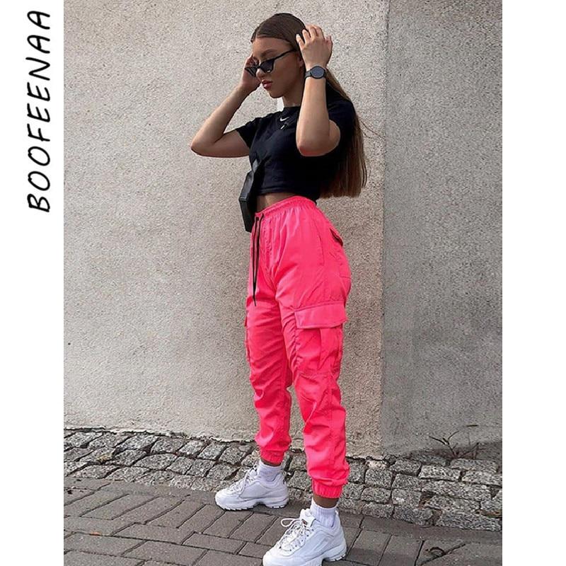 Boofeenaa Pantalones De Carga Para Mujer Pantalones De Chandal De Color Rosa O Negro Pantalones Deportivos De Cintura Alta Pantalones Informales Para Mujer C16 Ah72 Pantalones Y Pantalones Capri Aliexpress