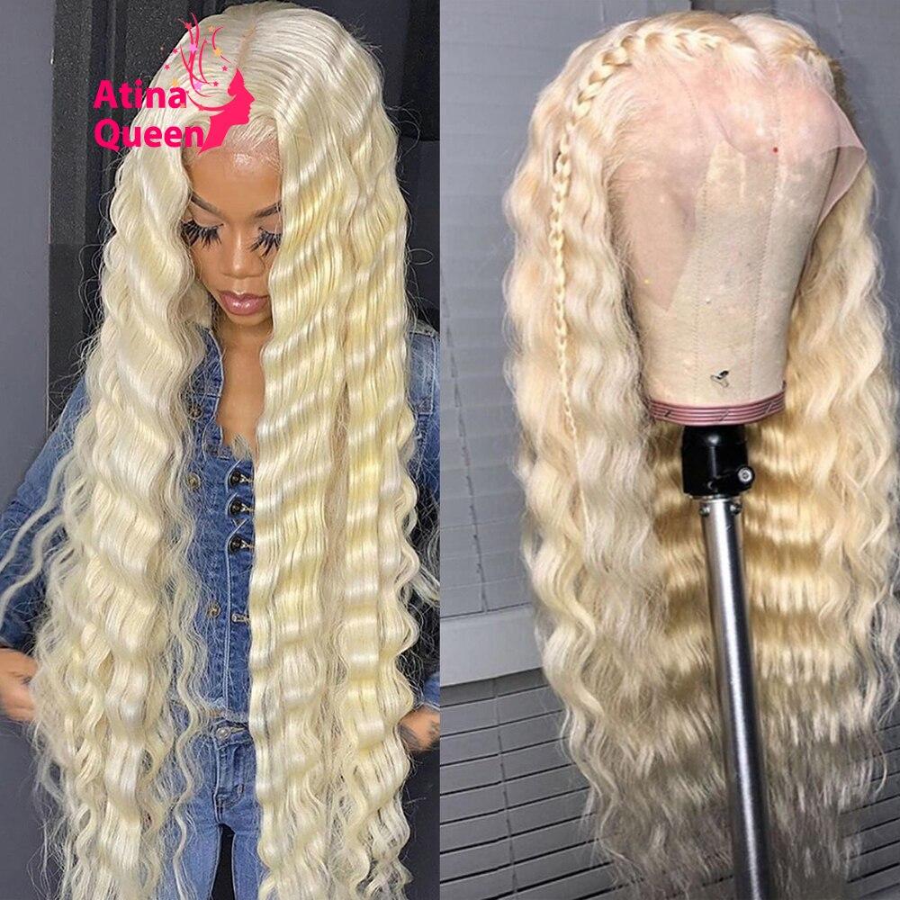 Peluca de cabello humano rizado de 13x4 hd, postizo de encaje Frontal, transparente, Remy 613, Rubio, parte T, 28, 30, 40 pulgadas, se puede teñir