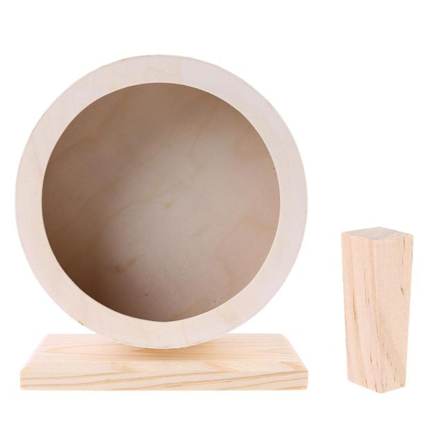 Pet Hamster Roller Wheel Natural Wood Play Toys Chinchilla Guinea Pig Squirrel Toy Rotate Running Exercise For Small Pets Bogie 4