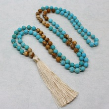 8mm Women's Long Necklace Natural Blue Picture Stone Beads Pendant Tassel Sweater Necklace Nepal Stone Gift Fashion Jewelry New fashion jewelry handmade beaded natural green stone long chain sweater metal sequins pendant necklace